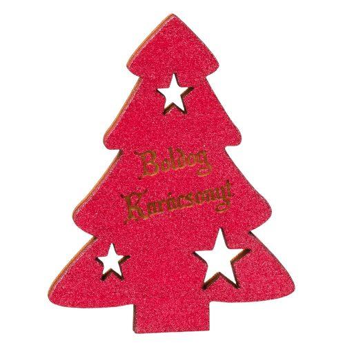 """4 db. fenyőfa """"Boldog Karácsonyt!"""" felirattal  6 x 8cm - Pink"""