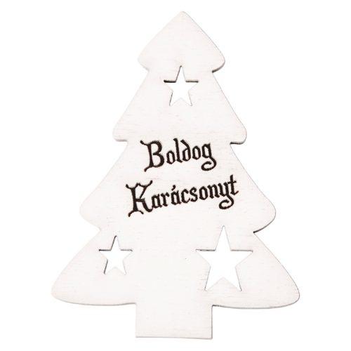 """4 db. fenyőfa """"Boldog Karácsonyt!"""" felirattal  6 x 8cm - Fehér"""