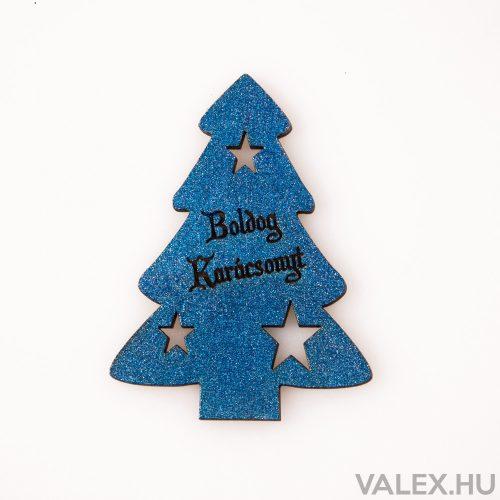 """4 db. fenyőfa """"Boldog Karácsonyt!"""" felirattal  6 x 8cm - Királykék"""