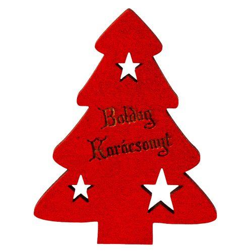 """4 db. fenyőfa """"Boldog Karácsonyt!"""" felirattal  6 x 8cm - Piros"""