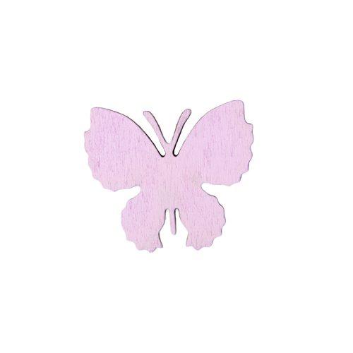 10db. festett fa pillangó 4 x 3.5cm - Lila
