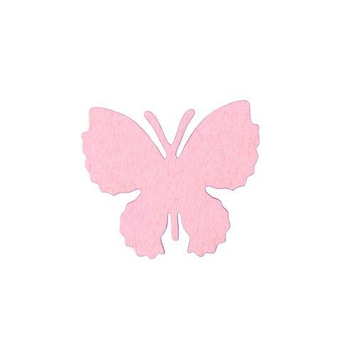 10db. festett fa pillangó 4 x 3.5cm - Rózsaszín