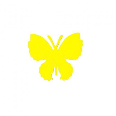 10db. festett fa pillangó 4 x 3.5cm - Citromsárga