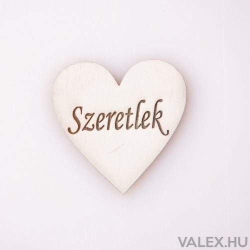"""5 db.  """"Szeretlek"""" feliratos gravírozott fa szívecske 5cm - Fehér"""