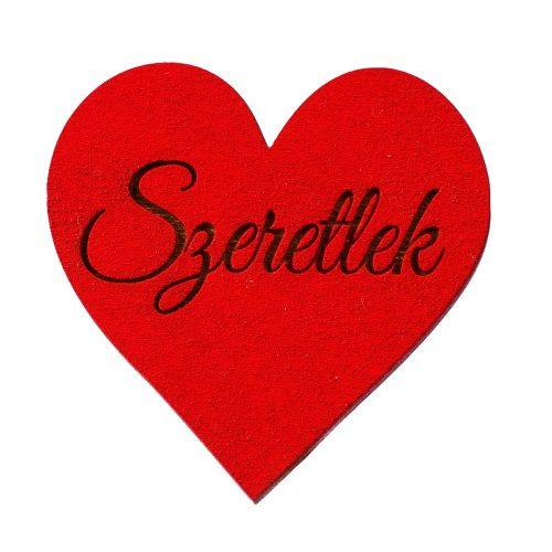 """5 db.  """"Szeretlek"""" feliratos gravírozott fa szívecske 5cm - Piros"""