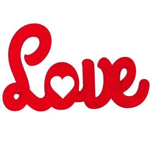 3 db. Love felirat 10 x 6cm - Piros