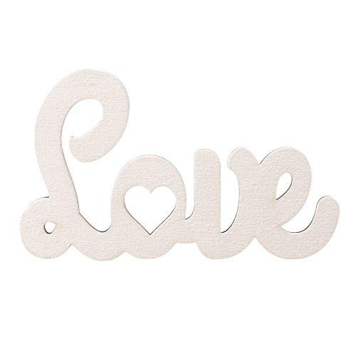 3 db. Love felirat 10 x 6cm - Fehér