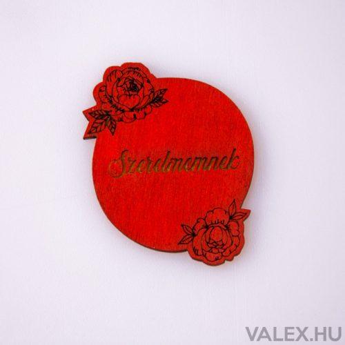 """5 db. """"Szerelmemnek"""" rózsás gravírozott fa tábla 5 x 5.5cm - Piros"""