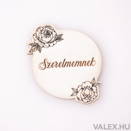 """5 db. """"Szerelmemnek"""" rózsás gravírozott fa tábla 5 x 5.5cm - Fehér"""