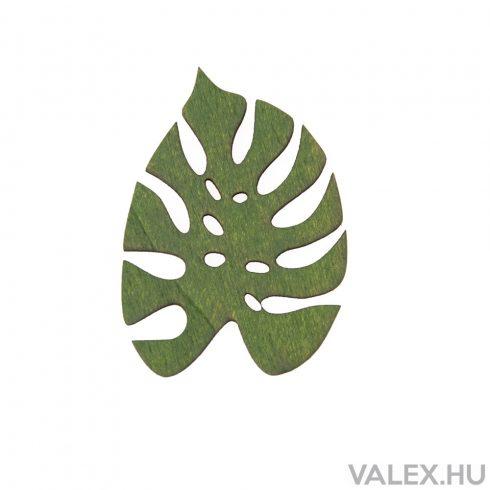 5db. festett fa monstera levél 6 x 4.5cm - Sötét zöld