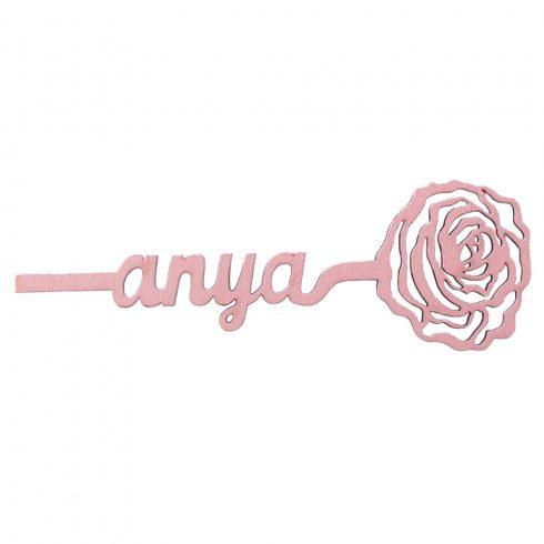 """2db. Festett fa """"Anya"""" virág 15 x 5cm - Rózsaszín"""