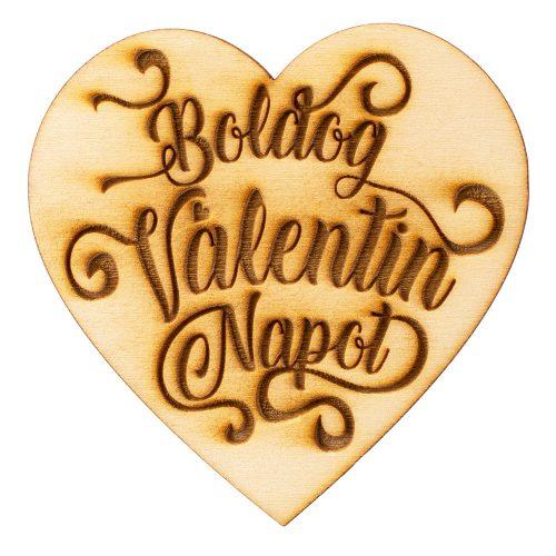 """3 db. """"Boldog Valentin Napot"""" feliratos szívecske 7cm - Natúr"""