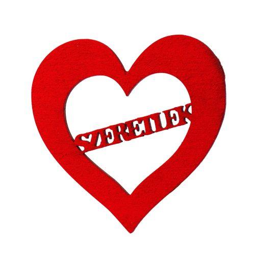 """5 db. """"Szeretlek""""  feliratos vágott fa szívecske 6cm - Piros"""