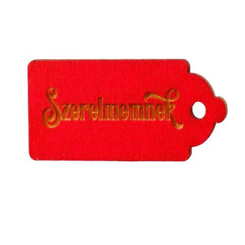 """10 db. """"Szerelmemnek"""" feliratos gravírozott fa tábla 5 x 2.5cm - Piros"""