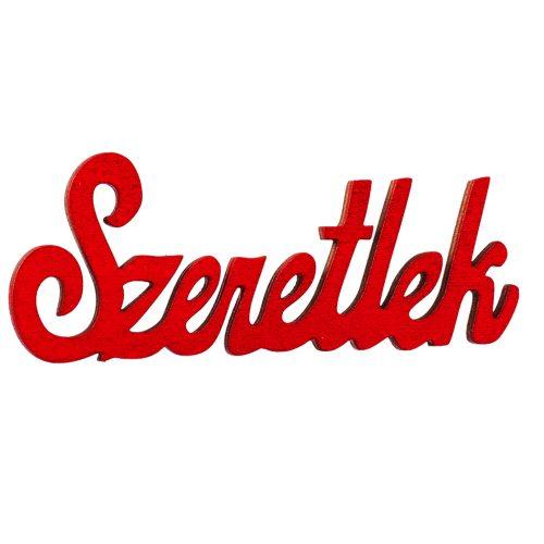 """4 db. fa """"Szeretlek"""" felirat 10 x 4cm - Piros"""