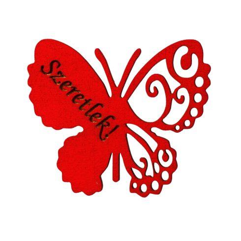 4 db. Szeretlek feliratos gravírozott fa pillangó 7 x 6cm - Piros