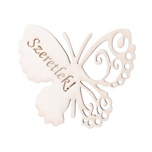 4 db. Szeretlek feliratos gravírozott fa pillangó 7 x 6cm - Fehér