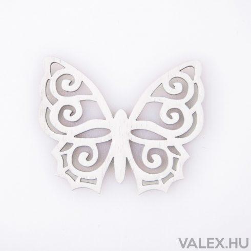 6db. festett fa pillangó 5 x 6cm - Fehér