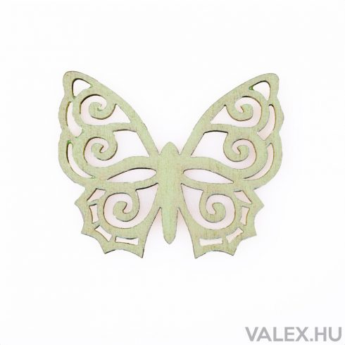 6db. festett fa pillangó 5 x 6cm - Zöld