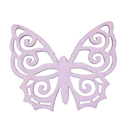 6db. festett fa pillangó 5 x 6cm - Lila