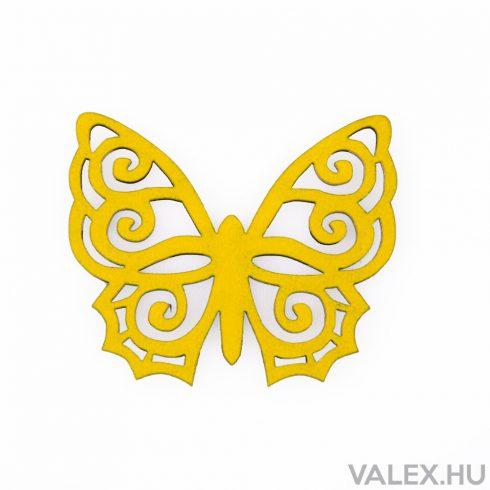 6db. festett fa pillangó 5 x 6cm - Citromsárga