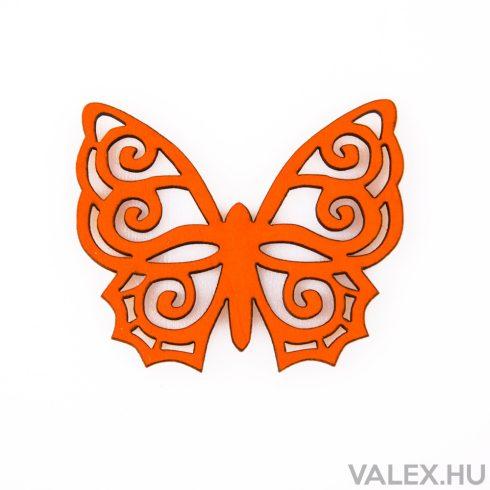 6db. festett fa pillangó 5 x 6cm - Narancssárga