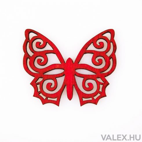 6db. festett fa pillangó 5 x 6cm - Piros