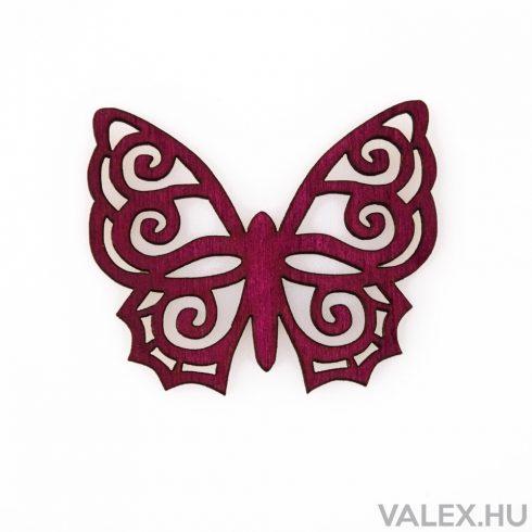 6db. festett fa pillangó 5 x 6cm - Bordó
