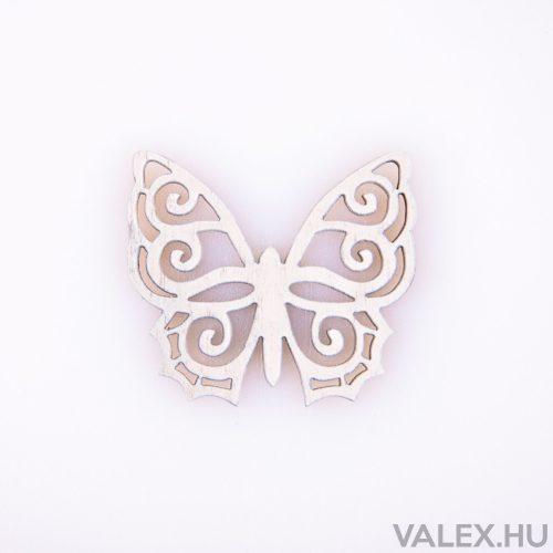 10db. festett fa pillangó 4 x 4.5cm - Fehér