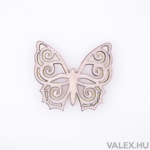 10db. festett fa pillangó 4 x 4.5cm - Pezsgő