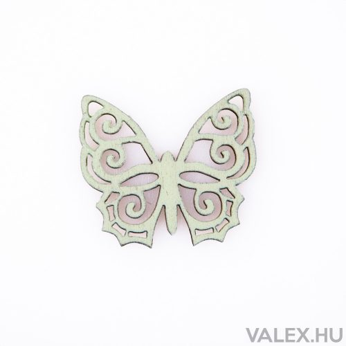 10db. festett fa pillangó 4 x 4.5cm - Zöld