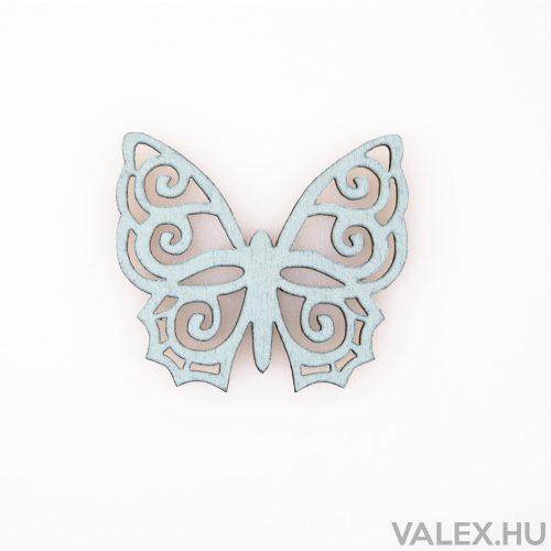 10db. festett fa pillangó 4 x 4.5cm - Kék