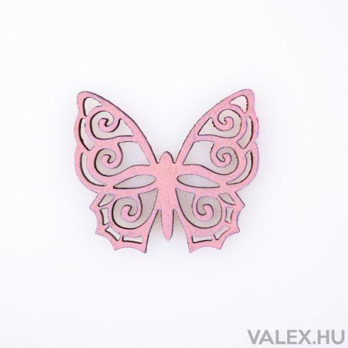 10db. festett fa pillangó 4 x 4.5cm - Rózsaszín