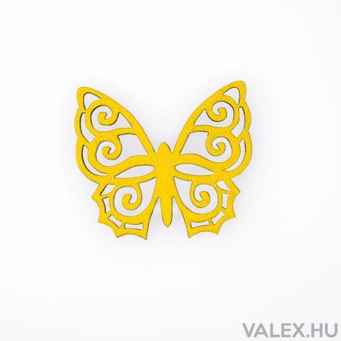 10db. festett fa pillangó 4 x 4.5cm - Citromsárga