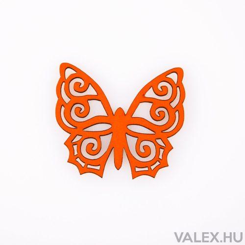 10db. festett fa pillangó 4 x 4.5cm - Narancssárga