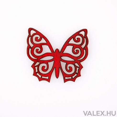 10db. festett fa pillangó 4 x 4.5cm - Piros