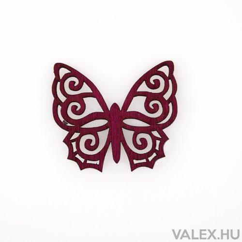 10db. festett fa pillangó 4 x 4.5cm - Bordó