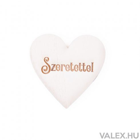 """7db. """"Szeretettel"""" feliratos festett fa szív 5 x 5cm - Fehér"""