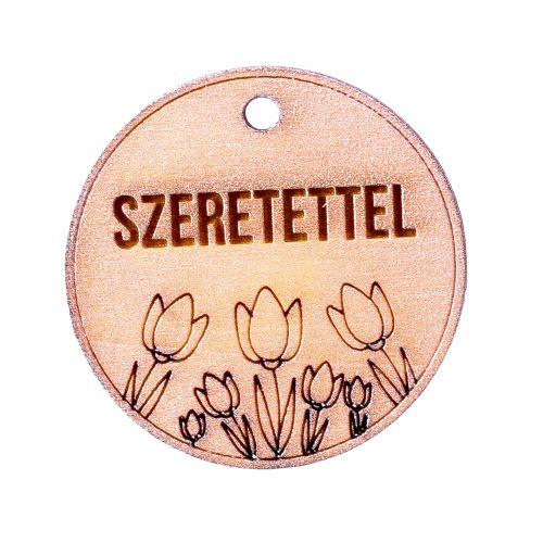 """5db. Tulipános, """"Szeretettel"""" feliratos tábla 5cm - Pezsgő színű"""