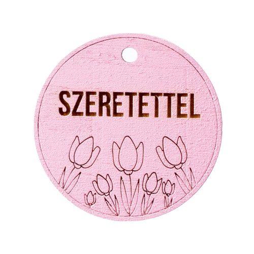 """5db. Tulipános, """"Szeretettel"""" feliratos tábla 5cm - Rózsaszín"""