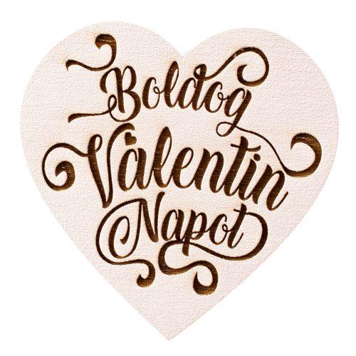 """3 db. """"Boldog Valentin Napot"""" feliratos szívecske 7cm - Fehér"""