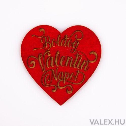 """3 db. """"Boldog Valentin Napot"""" feliratos szívecske 7cm - Piros"""
