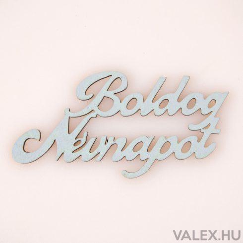 """4db. festett fa """"Boldog Névnapot"""" felirat 10 x 5cm - Babakék"""