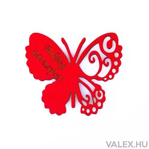"""4db. """"Boldog Névnapot!"""" feliratos festett fa pillangó 7 x 6cm - Piros"""