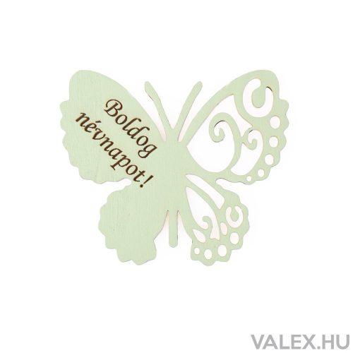 """4db. """"Boldog Névnapot!"""" feliratos festett fa pillangó 7 x 6cm - Világos zöld"""