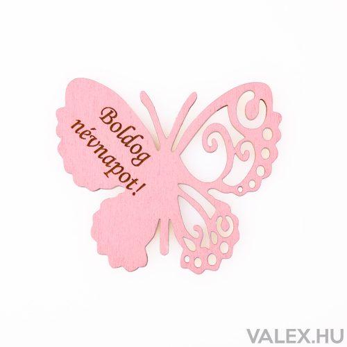 """4db. """"Boldog Névnapot!"""" feliratos festett fa pillangó 7 x 6cm - Rózsaszín"""
