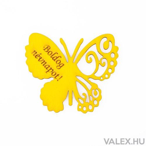 """4db. """"Boldog Névnapot!"""" feliratos festett fa pillangó 7 x 6cm - Citromsárga"""