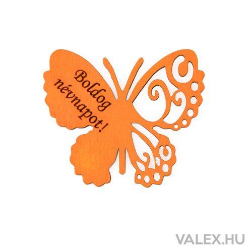 """4db. """"Boldog Névnapot!"""" feliratos festett fa pillangó 7 x 6cm - Narancssárga"""