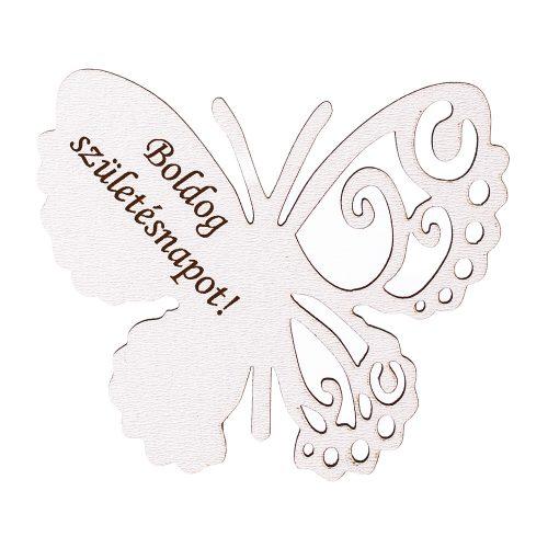 """4db. """"Boldog Születésnapot!"""" feliratos festett fa pillangó 7 x 6cm - Fehér"""