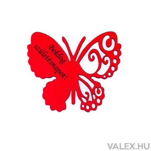 """4db. """"Boldog Születésnapot!"""" feliratos festett fa pillangó 7 x 6cm - Piros"""